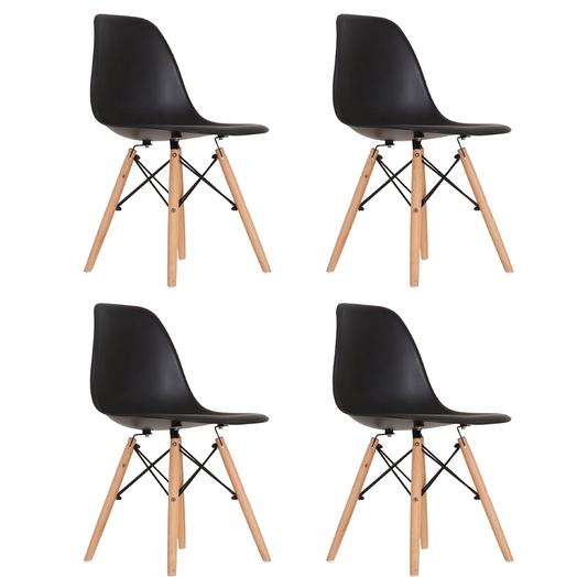 Mesa de Jantar Antiqua 90 x 160 com Banco Squared Leg e 4 Cadeiras Eames Pretas  - Mtne Store