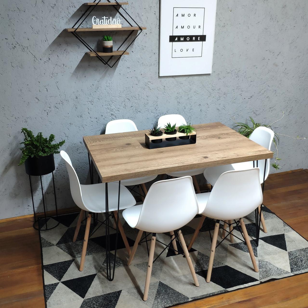 Mesa de Jantar Antiqua 90x140 Hairpin Legs com 6 Cadeiras Eames Brancas  - Mtne Store