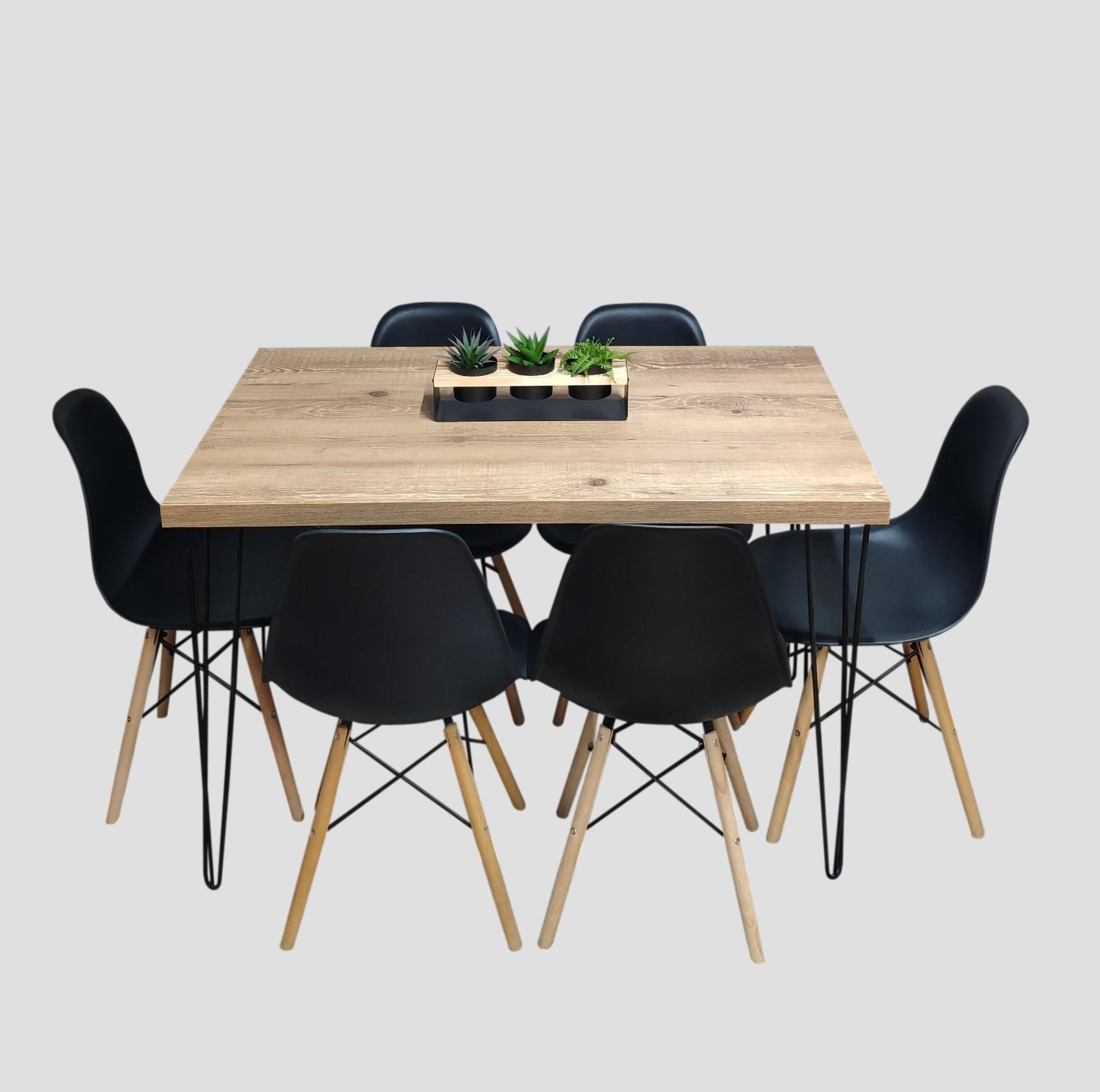 Mesa de Jantar Antiqua 90x150 Hairpin Legs com 6 Cadeiras Eames Pretas  - Mtne Store