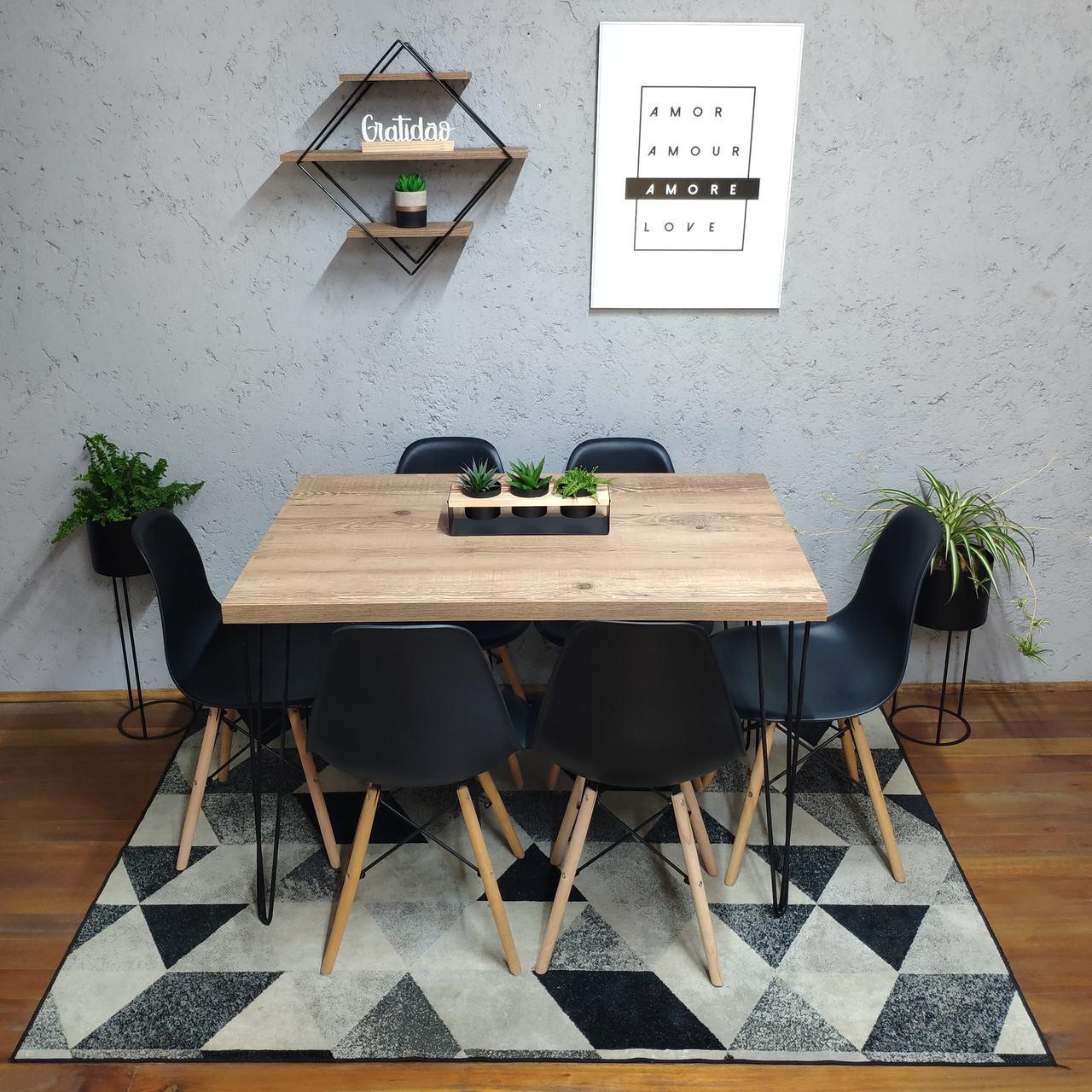 Mesa de Jantar Antiqua 90x150 Hairpin Legs com 6 Cadeiras Eames Pretas