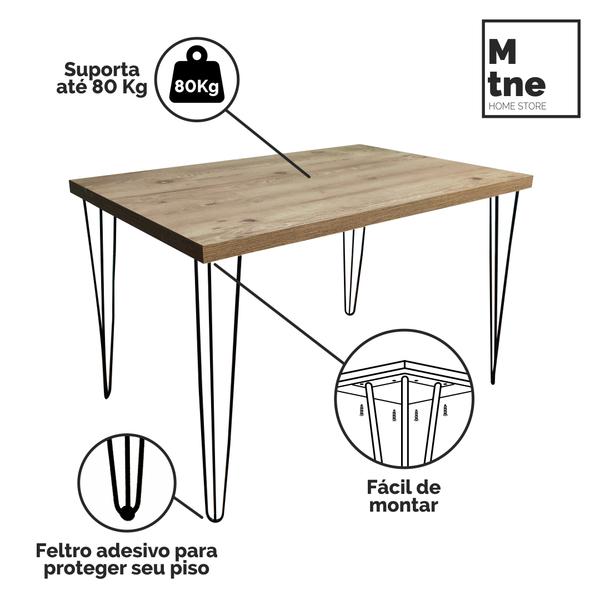 Mesa de Jantar Antiqua com Hairpin Legs e Tampo 100% MDF (PONTA DE ESTOQUE)  - Mtne Store