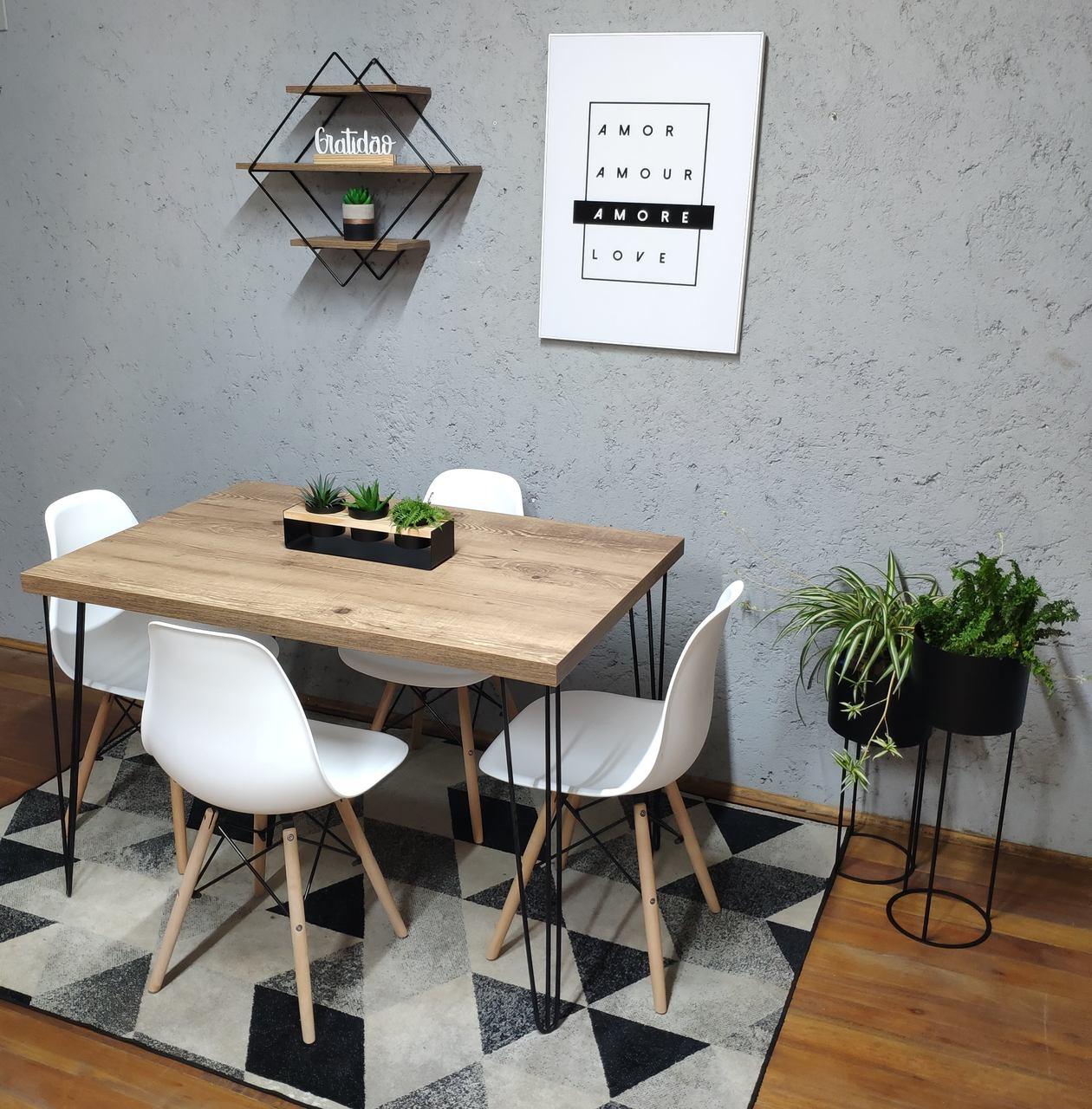 Mesa de Jantar Antiqua Hairpin Legs com 4 Cadeiras Eames Brancas  - Mtne Store