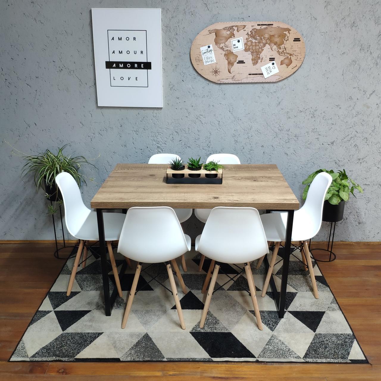 Mesa de Jantar Antiqua Squared 90x150 com 6 Cadeiras Eames Brancas