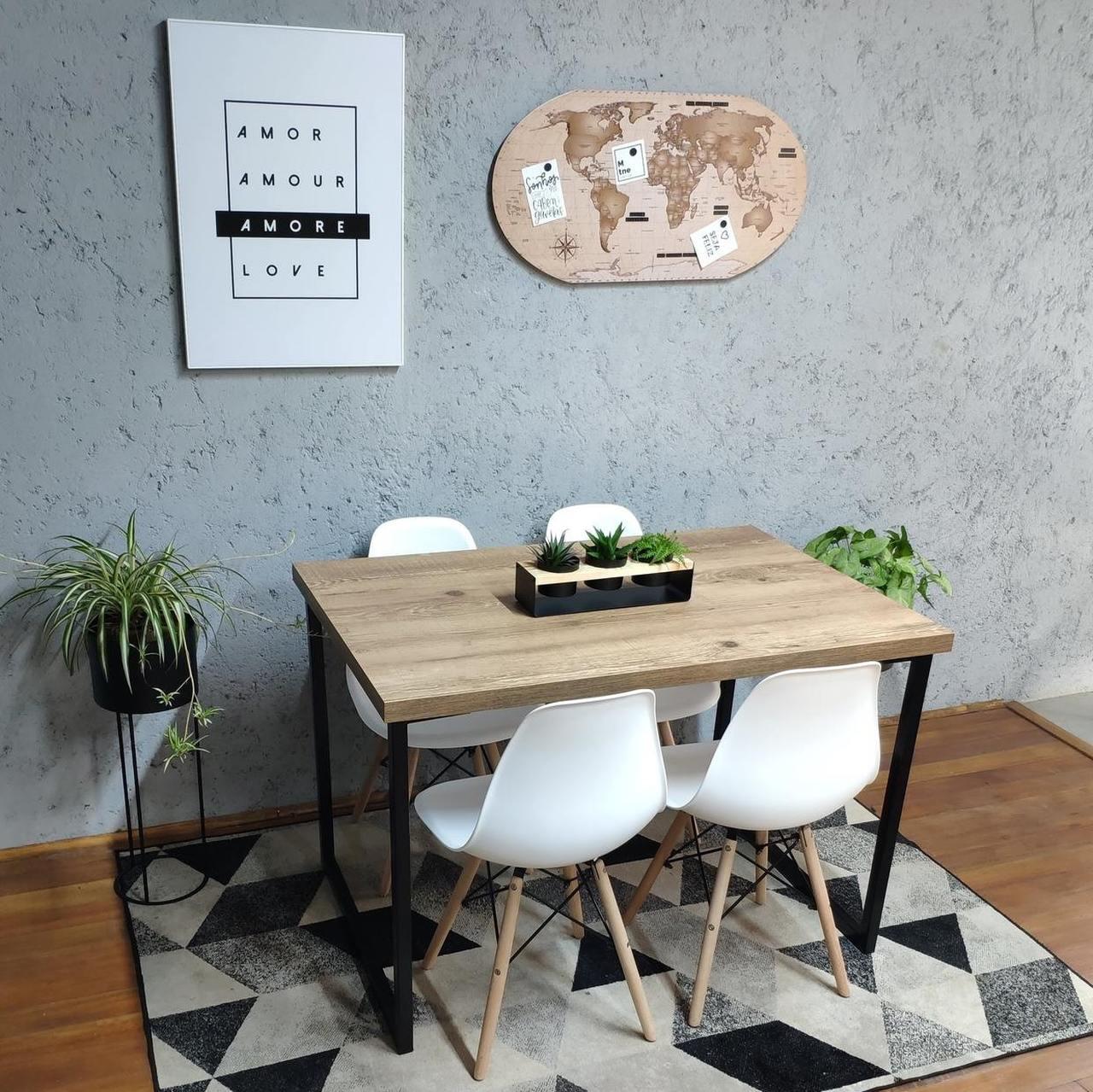 Mesa de Jantar Antiqua Squared Legs com 4 Cadeiras Eames Brancas  - Mtne Store