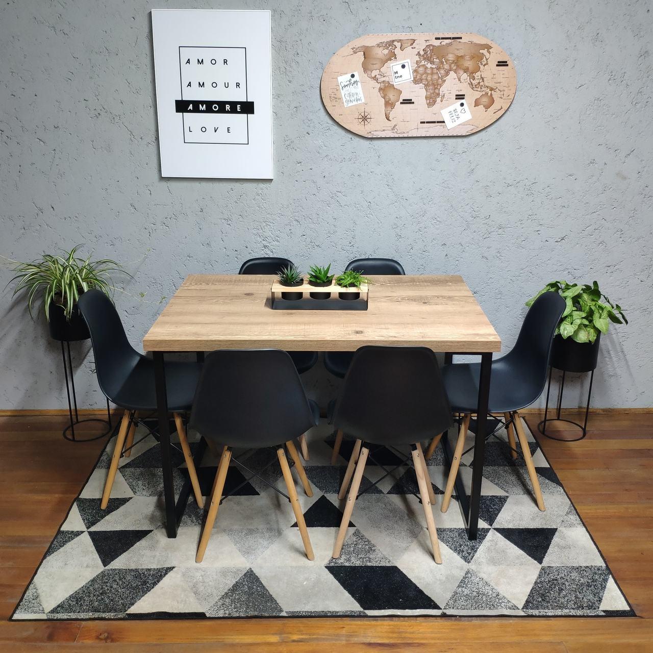 Mesa de Jantar Antiqua Squared Legs com 6 Cadeiras Eames Pretas