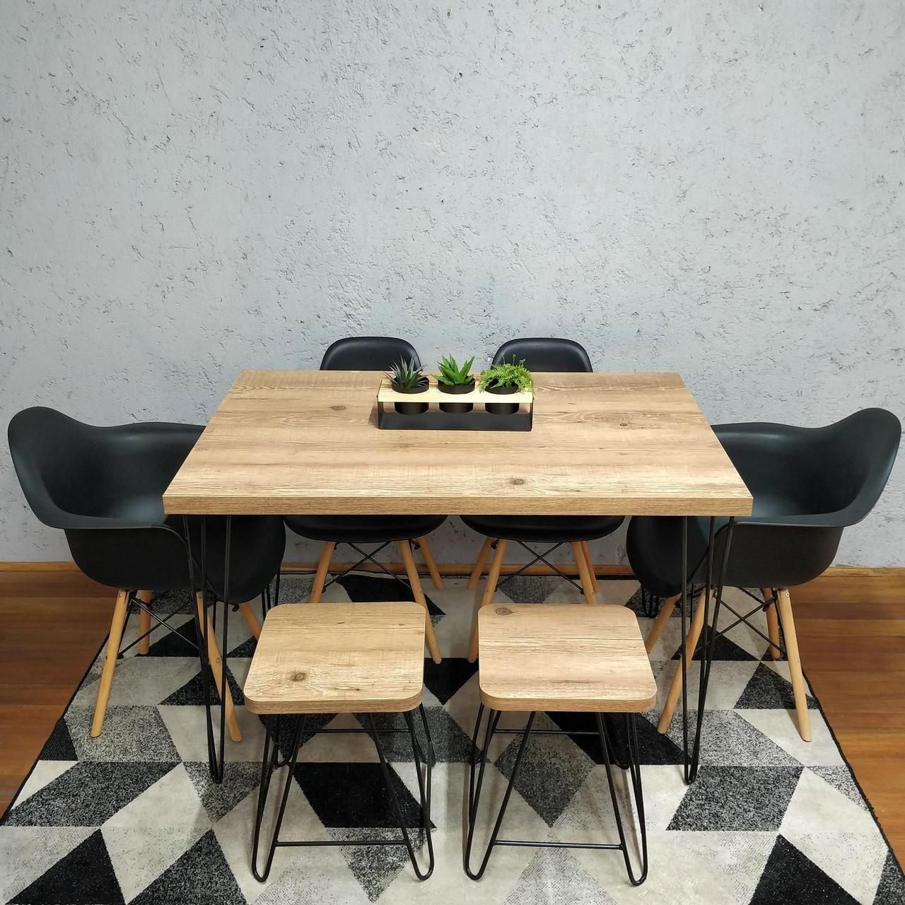 Mesa de Jantar com 2 Banquinhos Antiqua com Hairpin Legs e Tampo 100% MDF  - Mtne Store