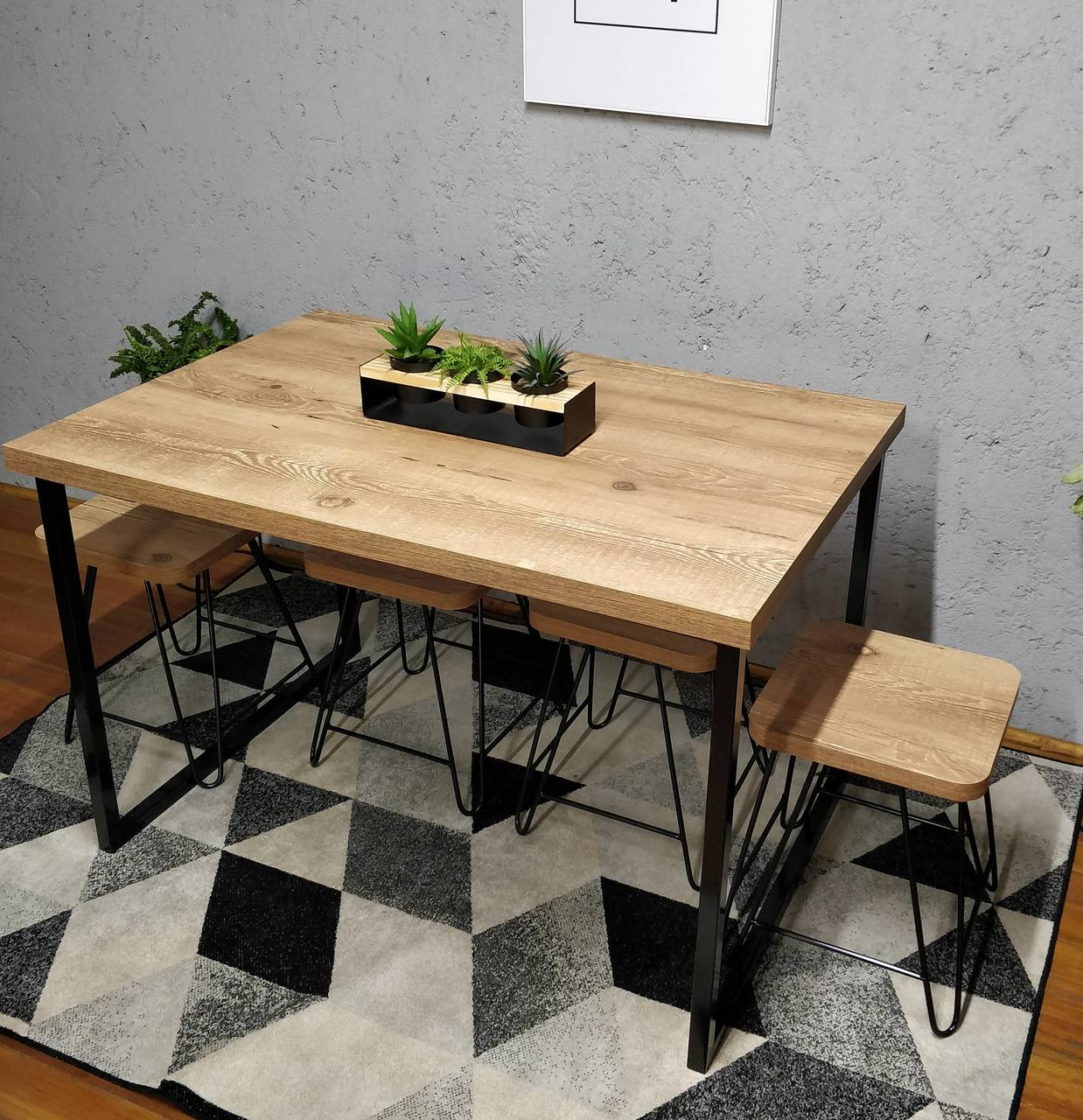 Mesa de Jantar com 2 Banquinhos Antiqua com Squared Legs e Tampo 100% MDF  - Mtne Store