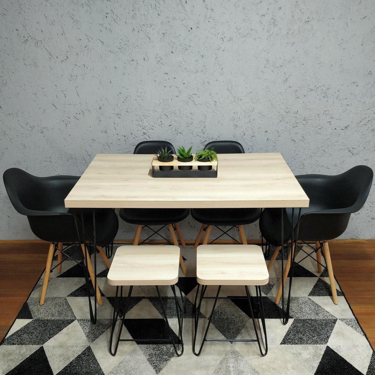 Mesa de Jantar com 2 Banquinhos Faia com Hairpin Legs e Tampo 100% MDF  - Mtne Store
