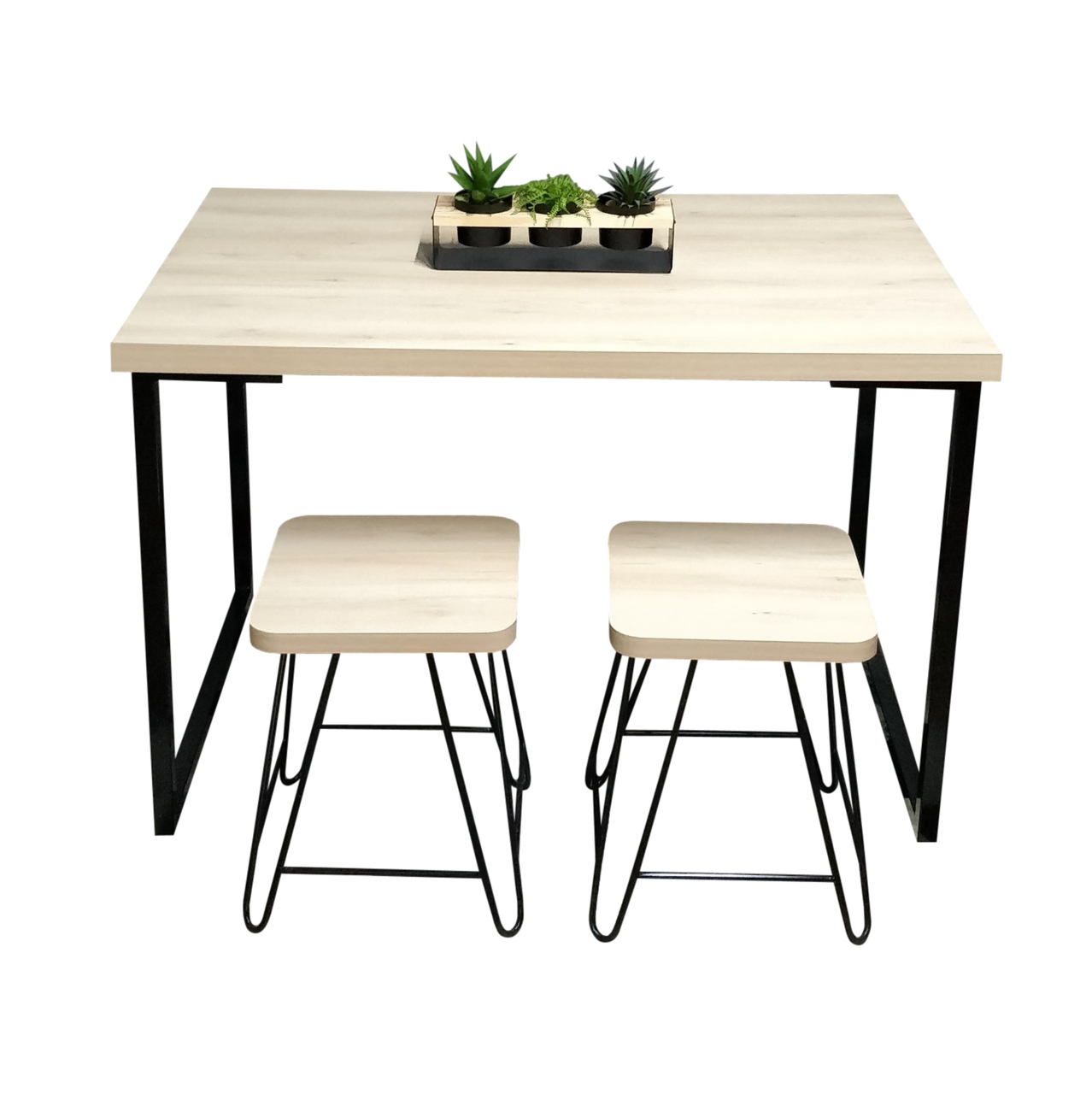 Mesa de Jantar com 2 Banquinhos Faia com Squared Legs e Tampo 100% MDF