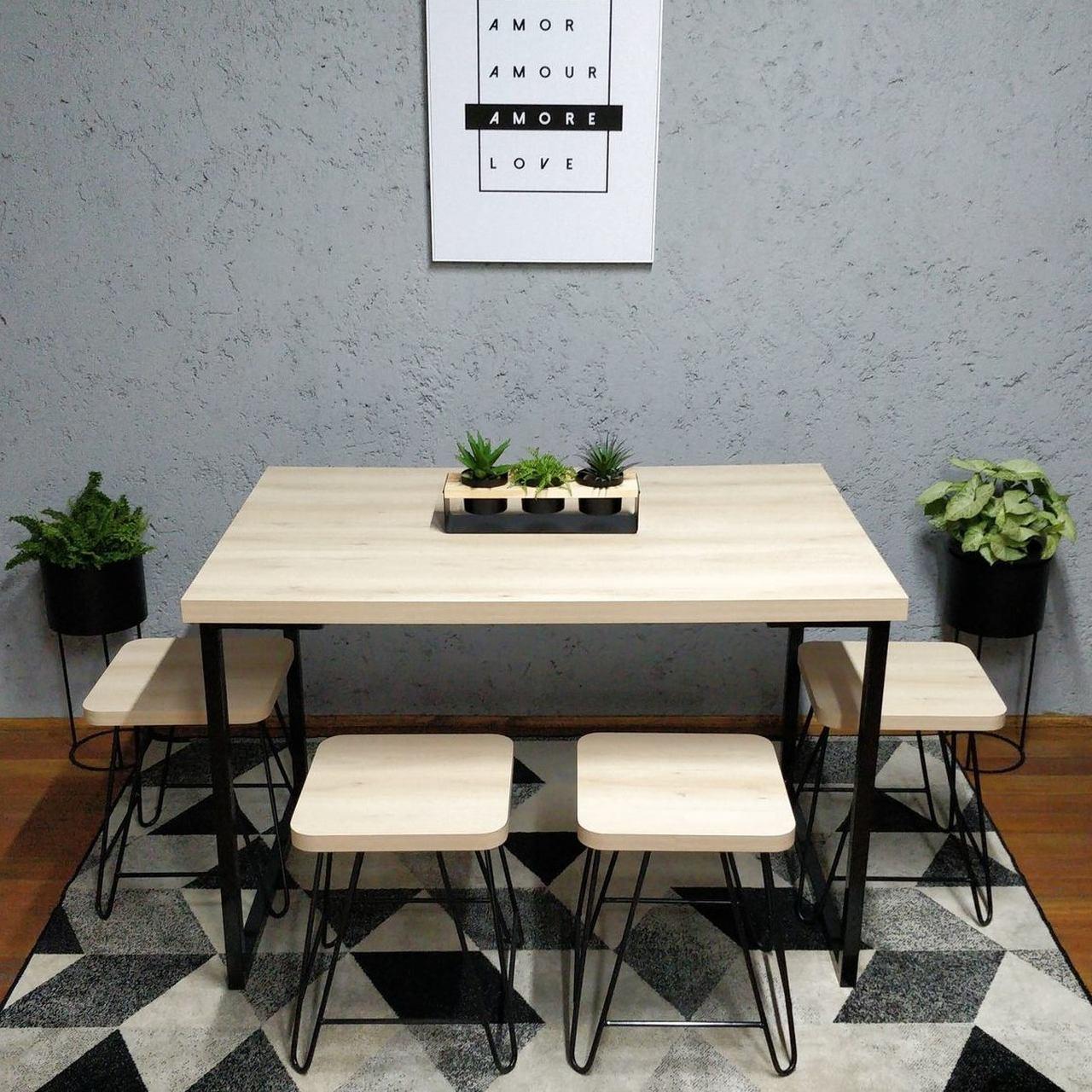 Mesa de Jantar com 2 Banquinhos Faia com Squared Legs e Tampo 100% MDF  - Mtne Store