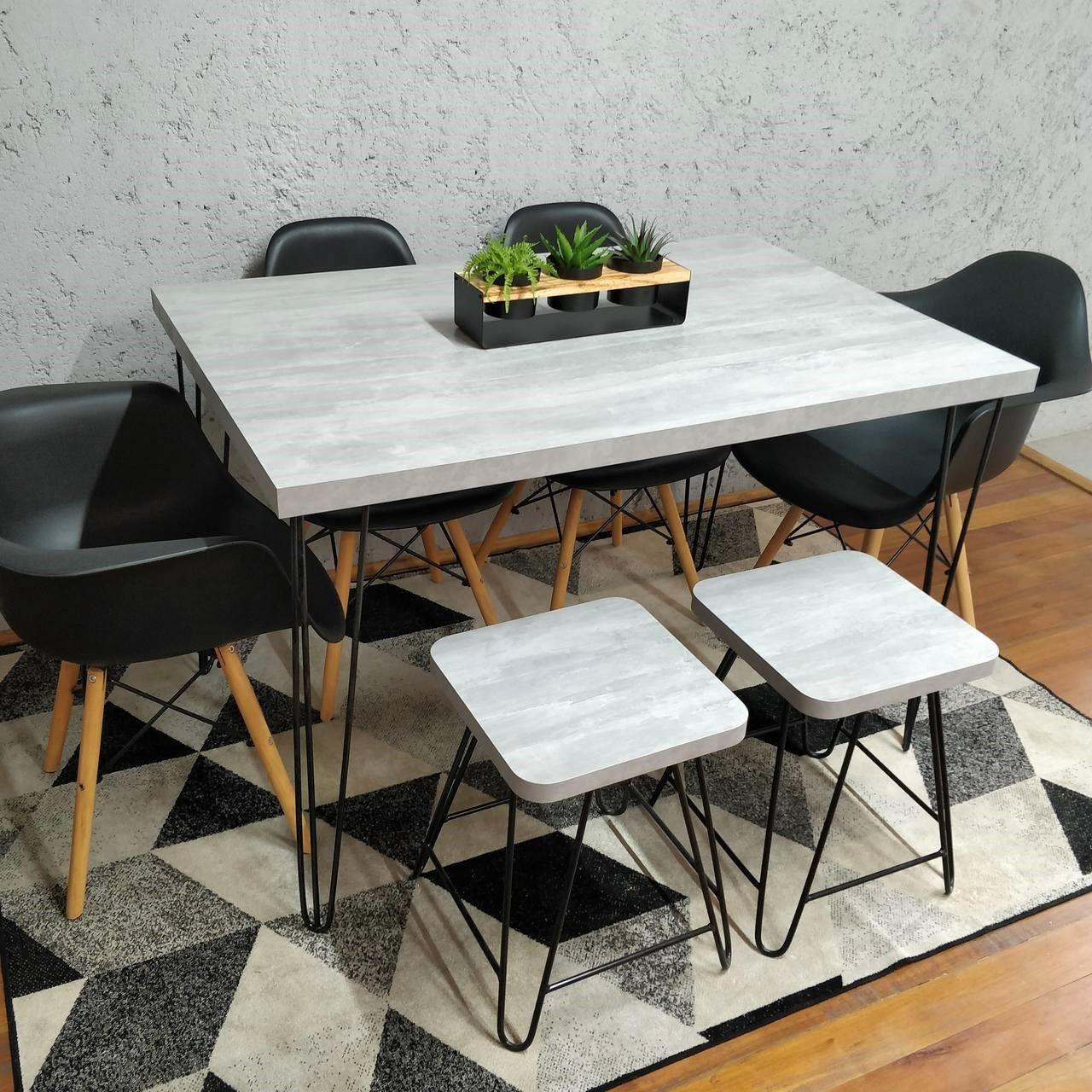 Mesa de Jantar com 2 Banquinhos Santorini com Hairpin Legs e Tampo 100% MDF  - Mtne Store