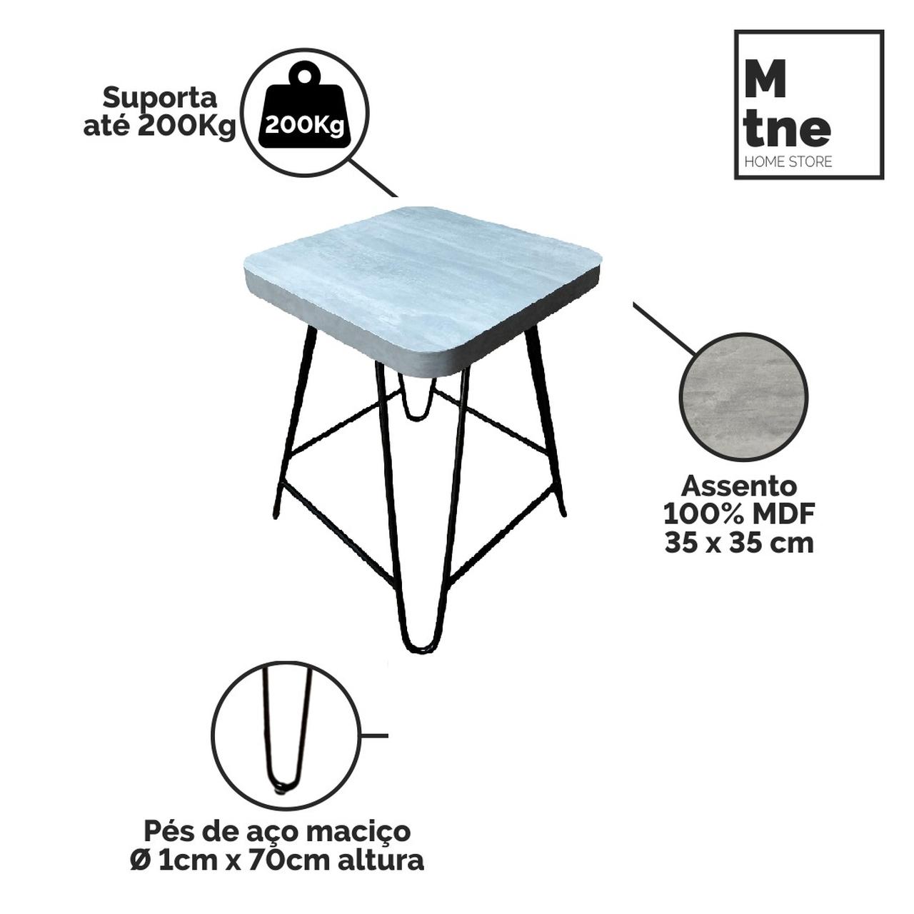 Mesa de Jantar com 2 Banquinhos Santorini com Squared Legs e Tampo 100% MDF  - Mtne Store