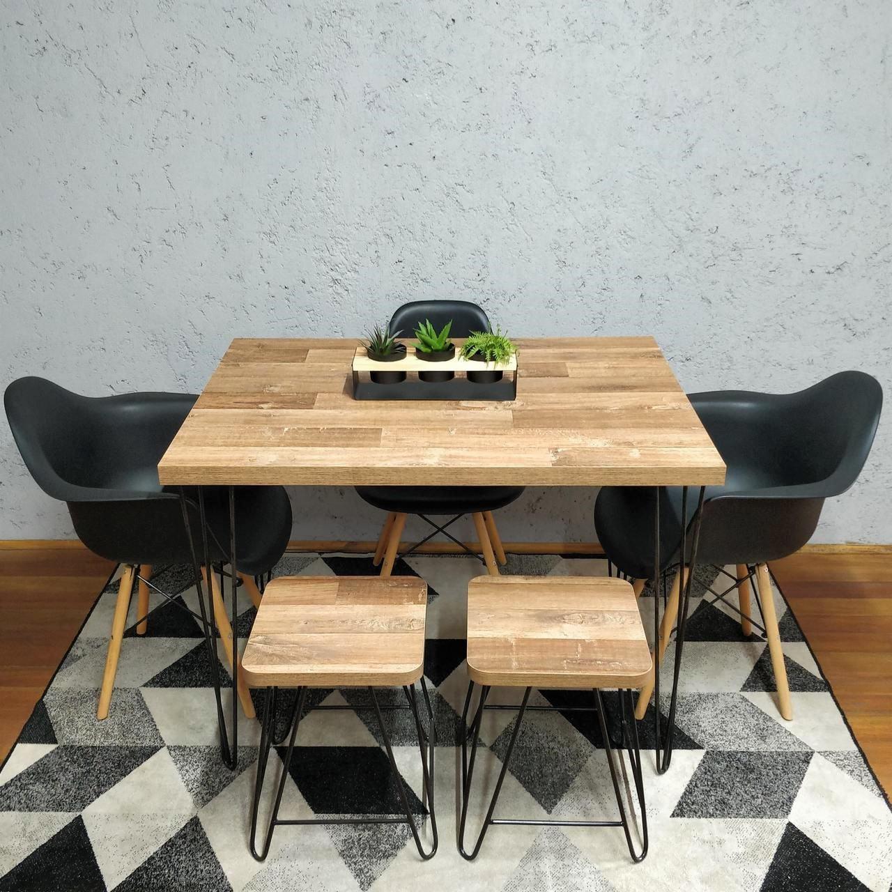 Mesa de Jantar com 2 Banquinhos Western com Hairpin Legs e Tampo 100% MDF  - Mtne Store