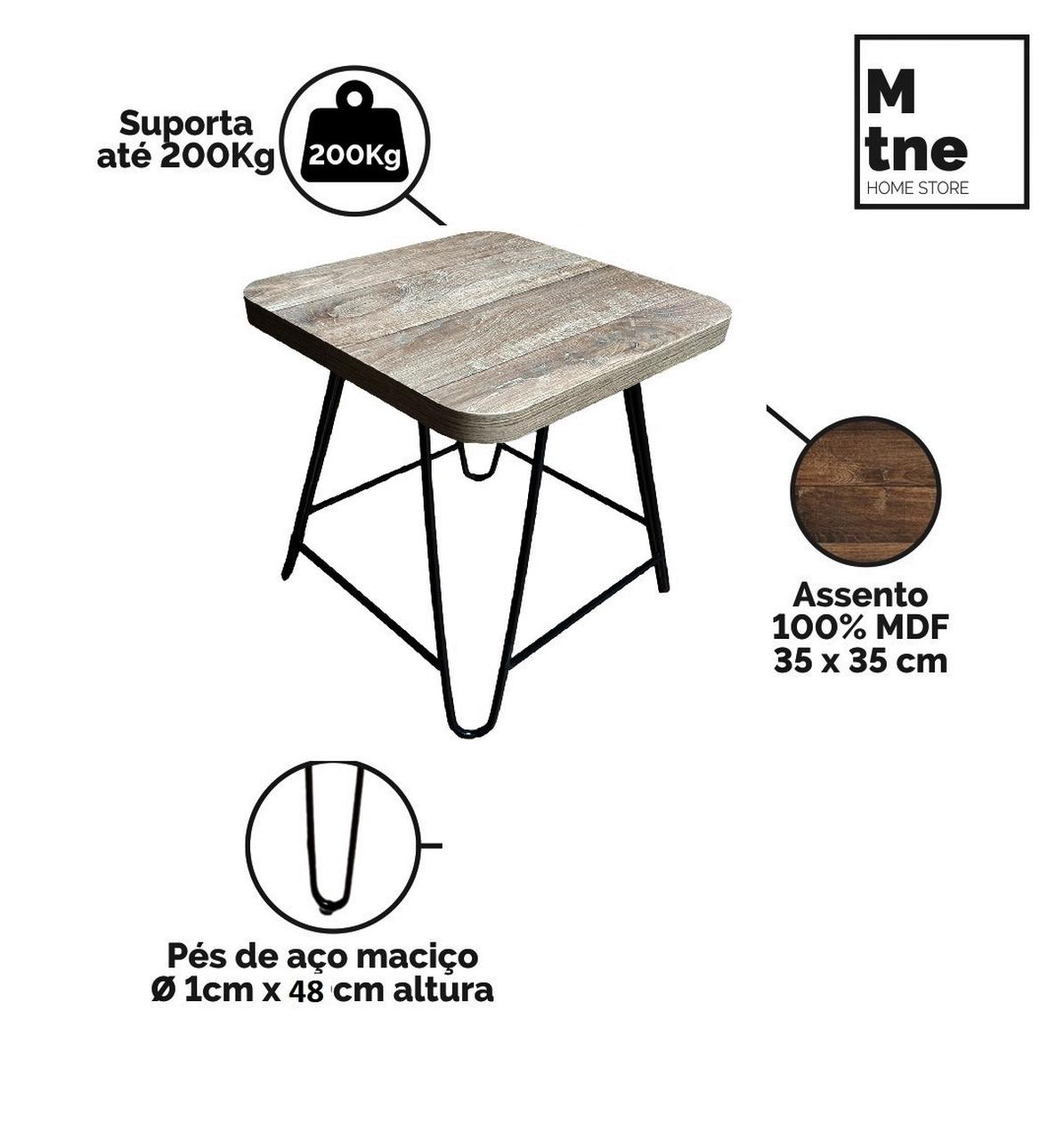 Mesa de Jantar com 2 Banquinhos Western com Squared Legs e Tampo 100% MDF  - Mtne Store