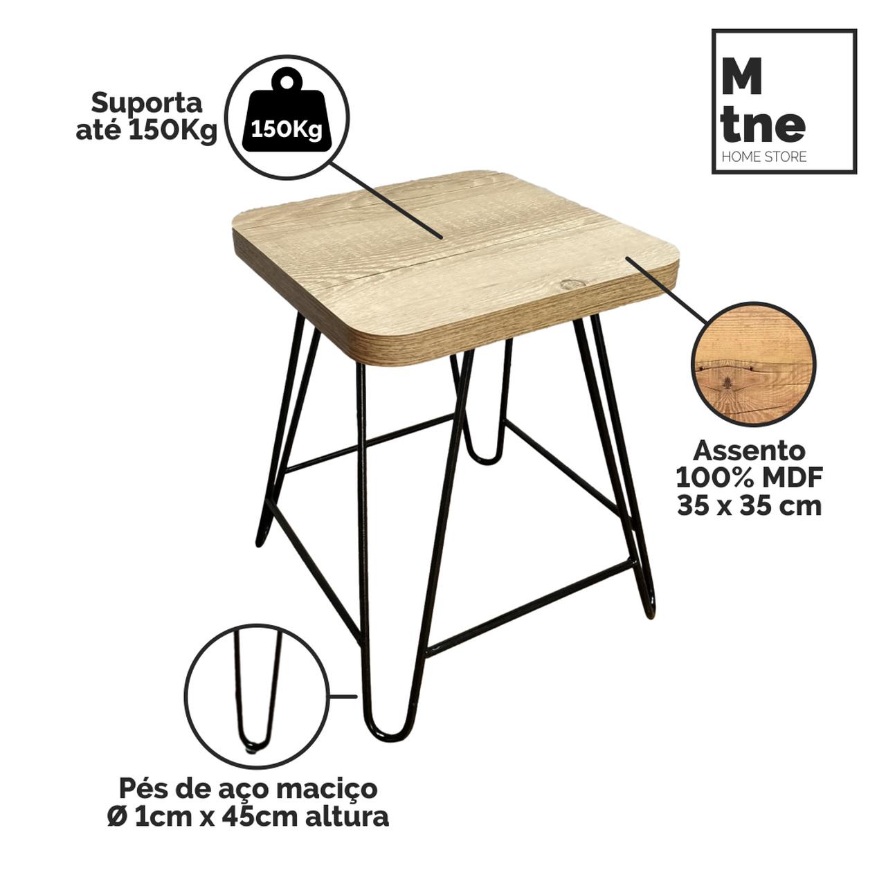 Mesa de Jantar com 4 Banquinhos Antiqua com Squared Legs e Tampo 100% MDF  - Mtne Store