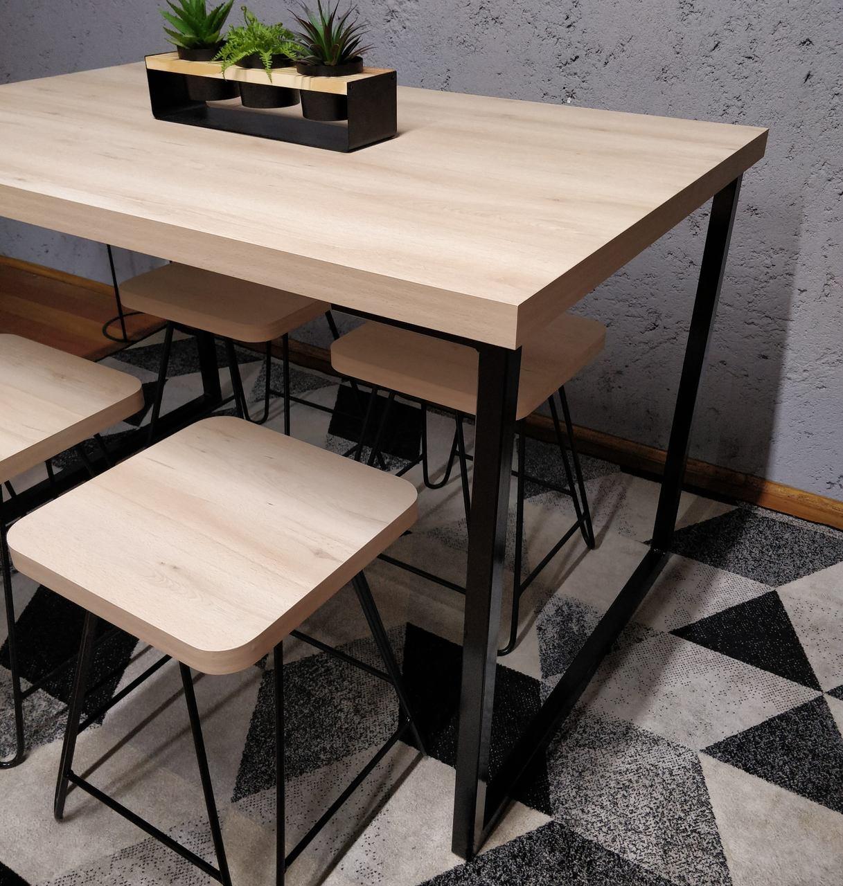 Mesa de Jantar com 4 Banquinhos Faia com Squared Legs e Tampo 100% MDF  - Mtne Store