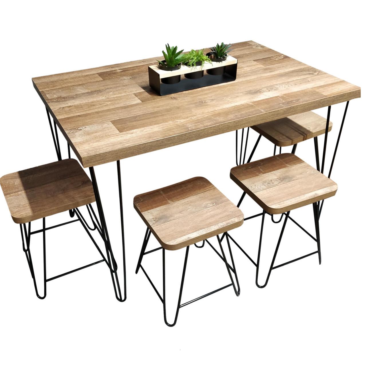 Mesa de Jantar com 4 Banquinhos Western com Hairpin Legs e Tampo 100% MDF