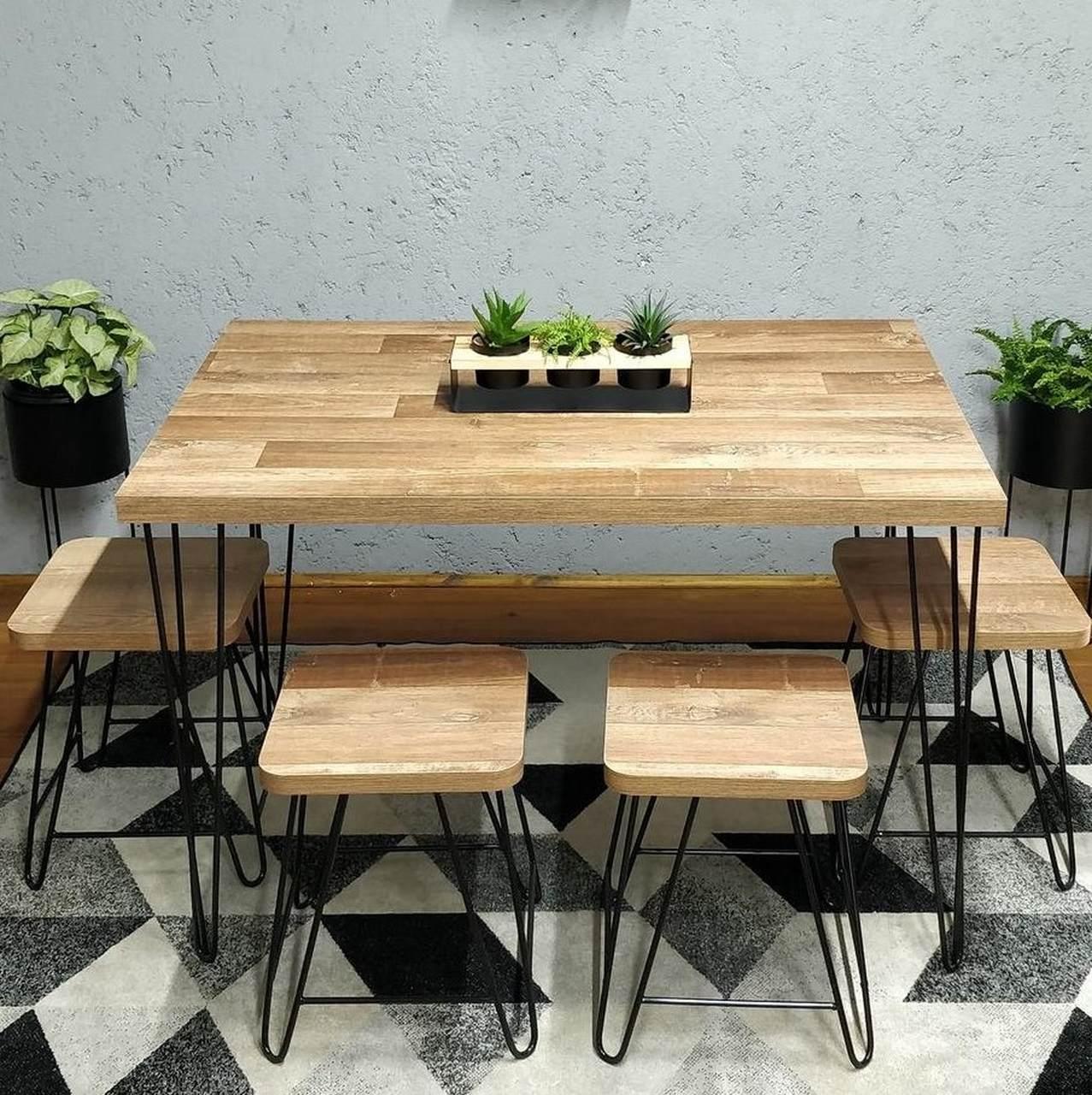 Mesa de Jantar com 4 Banquinhos Western com Hairpin Legs e Tampo 100% MDF  - Mtne Store