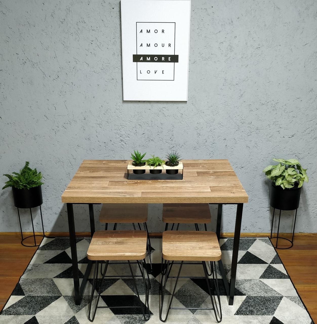 Mesa de Jantar com 4 Banquinhos Western com Squared Legs e Tampo 100% MDF  - Mtne Store