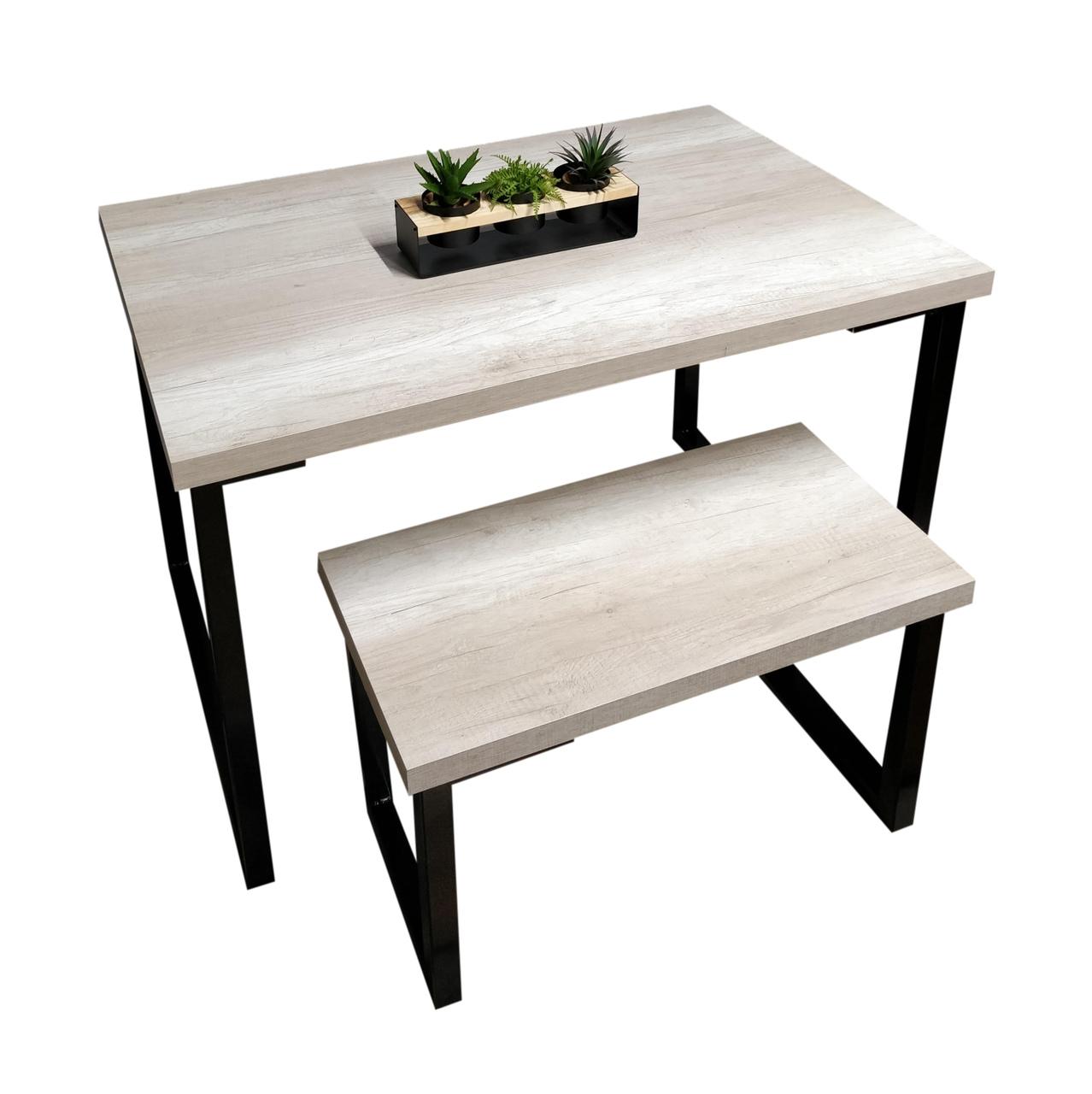 Mesa de Jantar com Banco e Aparador Squared Legs