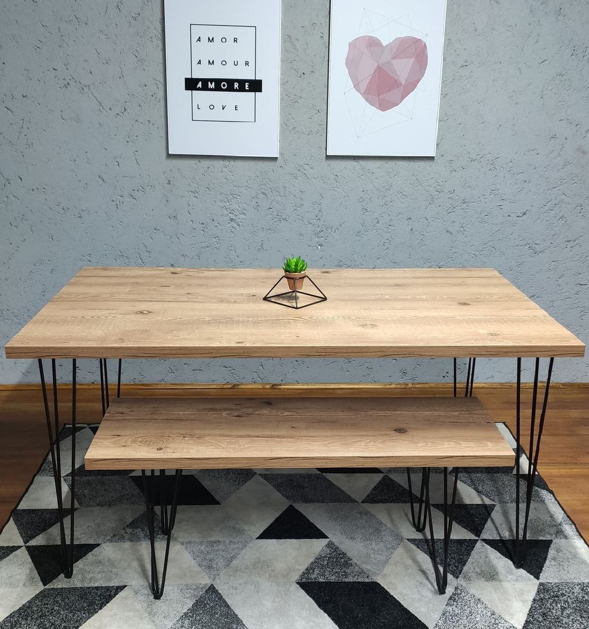 Mesa de Jantar e Banco Antiqua com Hairpin Legs e Tampo 100% MDF  - Mtne Store