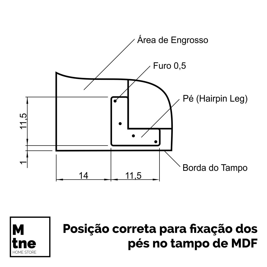 Mesa de Jantar e Banco Antiqua com Hairpin Legs e Tampo 100% MDF 30 mm  - Mtne Store