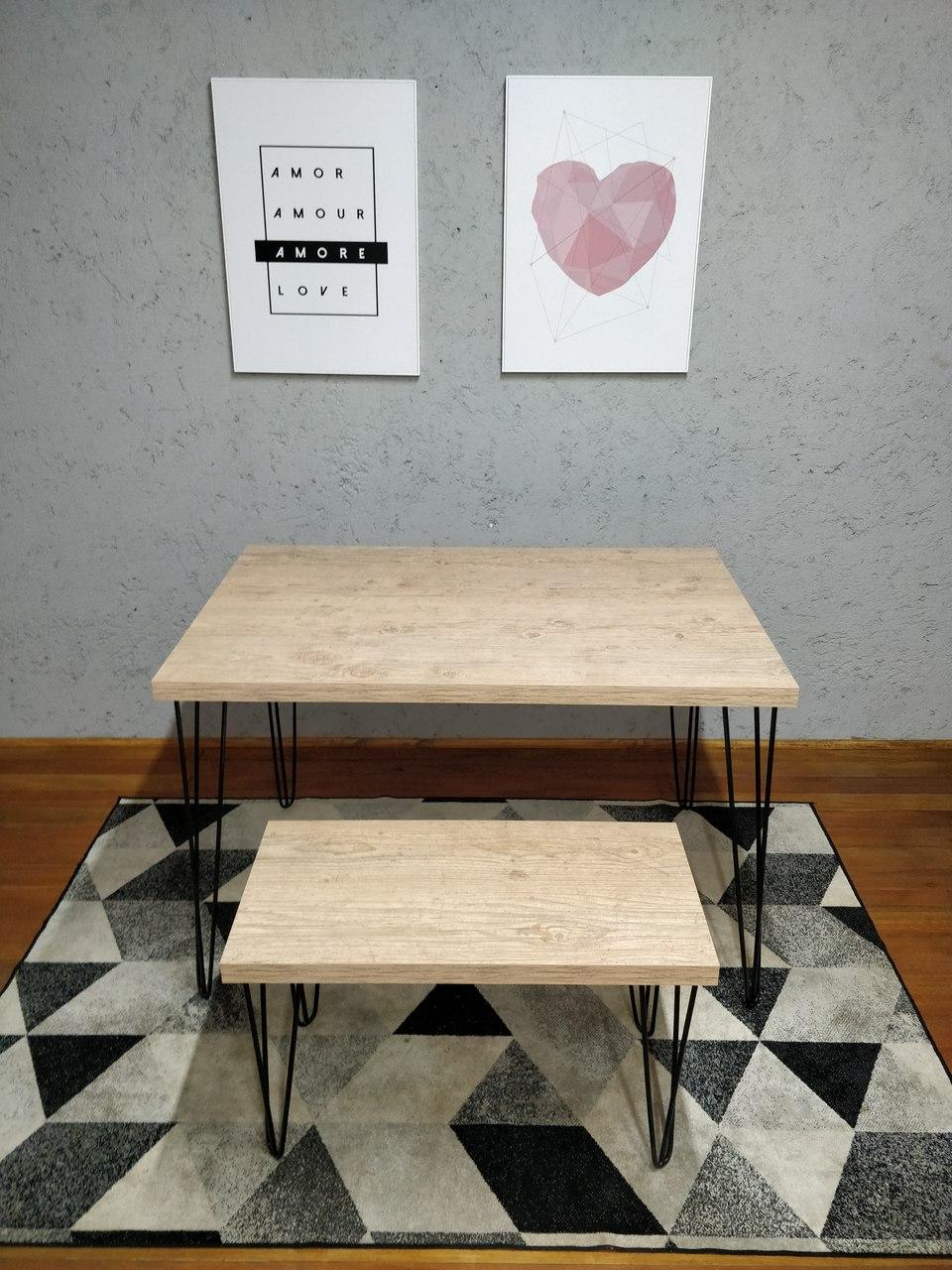 Mesa de Jantar e Banco Cânion Rústico com Hairpin Legs e Tampo 100% MDF