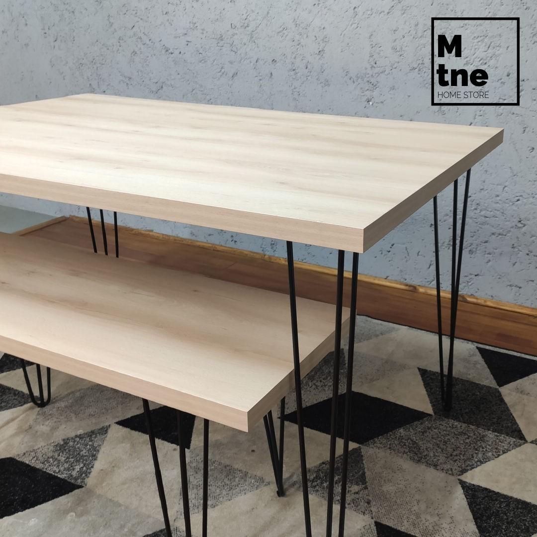 Mesa de Jantar e Banco Faia com Hairpin Legs e Tampo 100% MDF  - Mtne Store