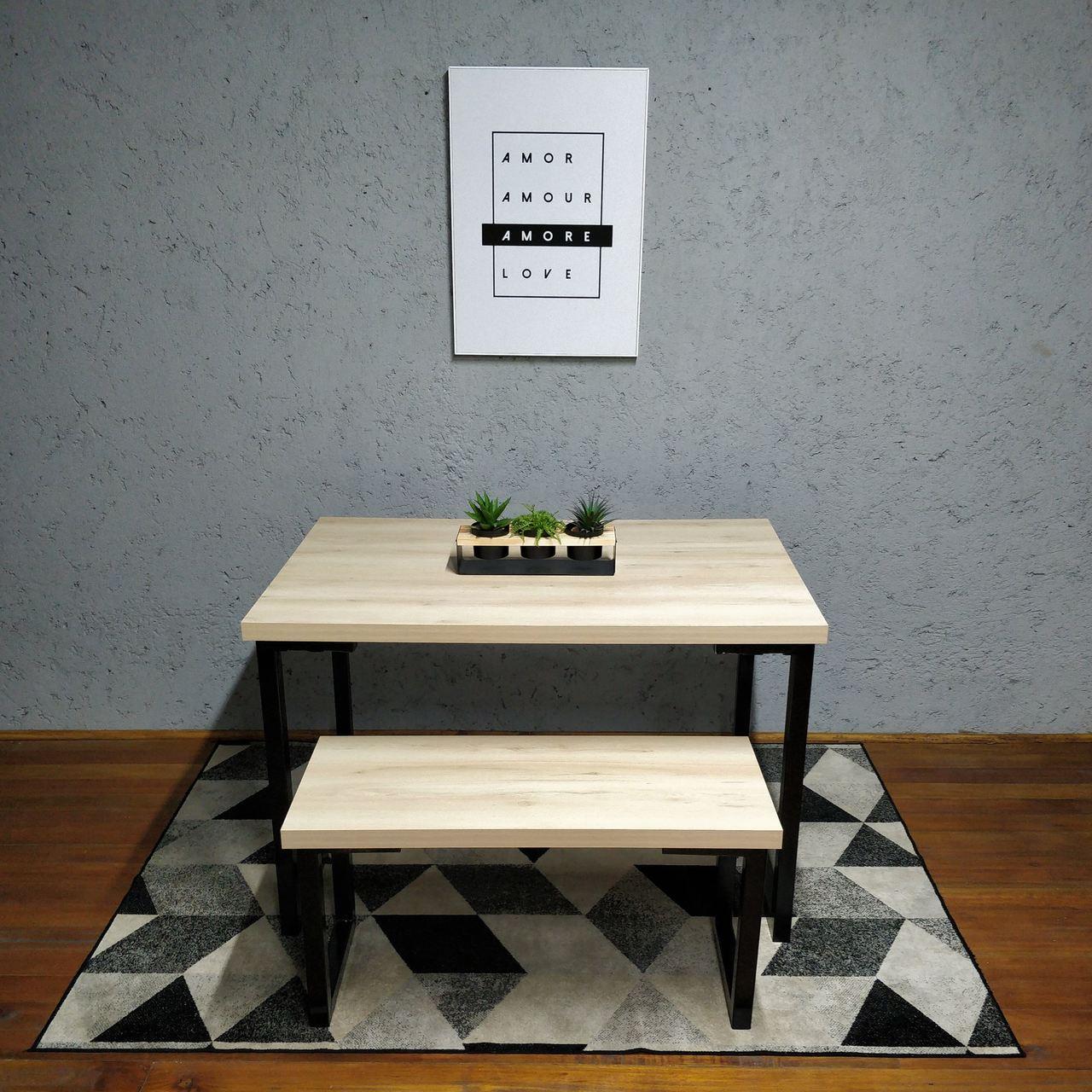 Mesa de Jantar e Banco Faia com Squared Legs e Tampo 100% MDF  - Mtne Store
