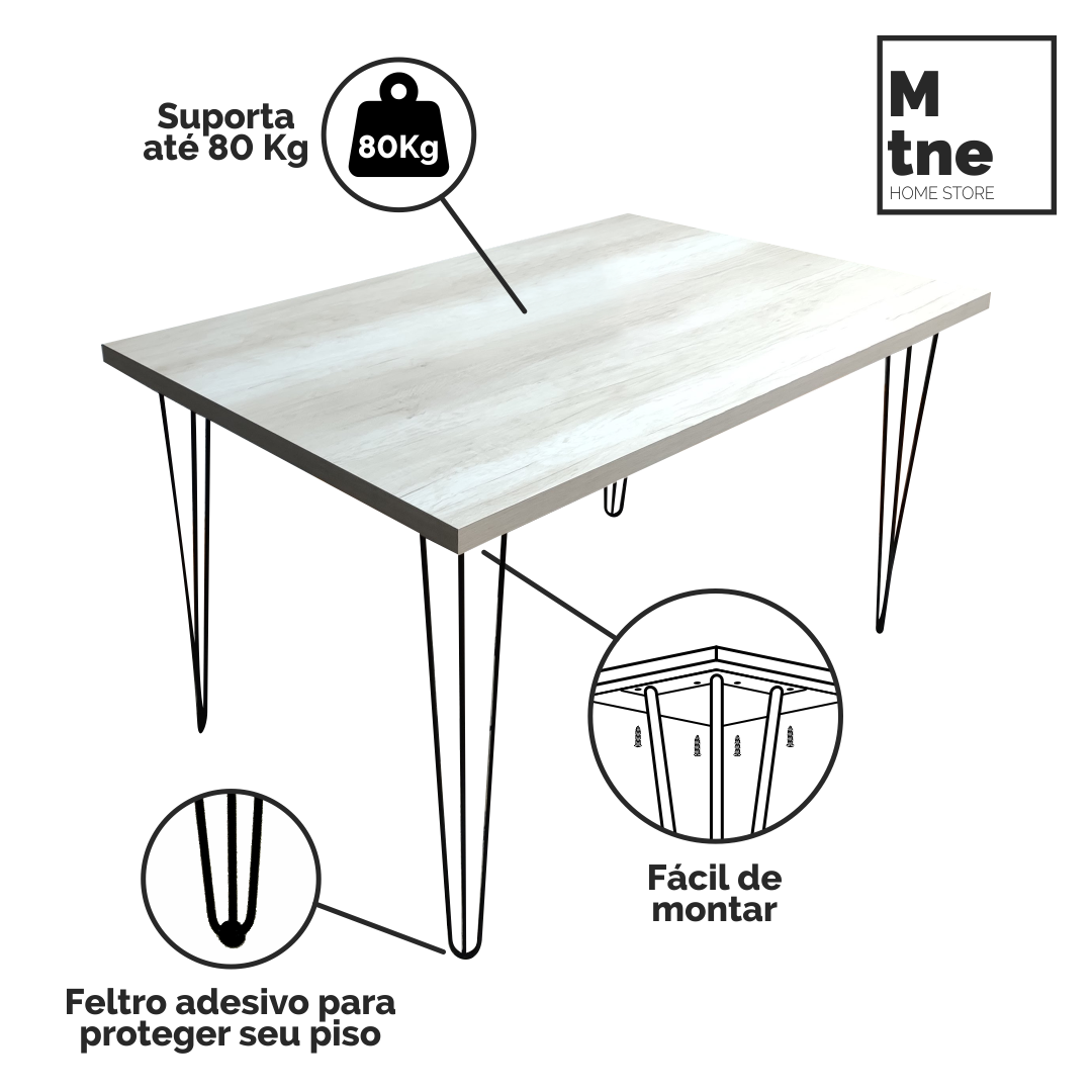 Mesa de Jantar e Banco Mezzo com Hairpin Legs e Tampo 100% MDF  - Mtne Store