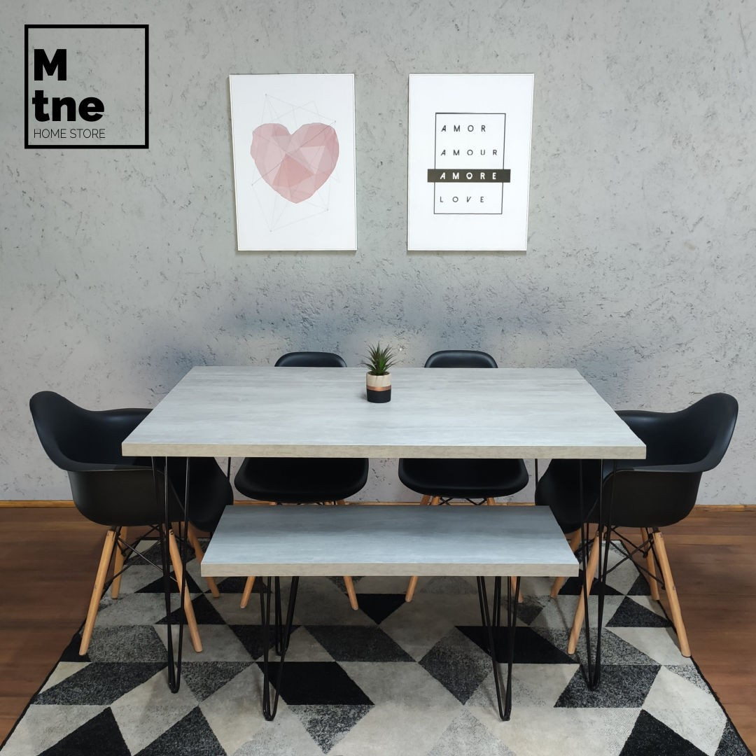 Mesa de Jantar e Banco Santorini com Hairpin Legs e Tampo 100% MDF  - Mtne Store