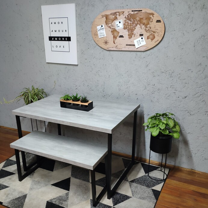 Mesa de Jantar e Banco Santorini com Squared Legs e Tampo 100% MDF  - Mtne Store