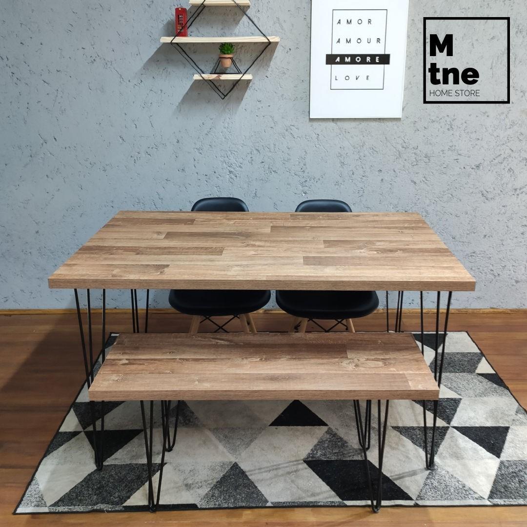 Mesa de Jantar e Banco Western com Hairpin Legs e Tampo 100% MDF  - Mtne Store