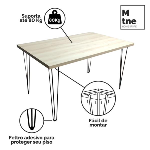 Mesa de Jantar Faia com Hairpin Legs e Tampo 100% MDF (Não acompanham cadeiras)  - Mtne Store