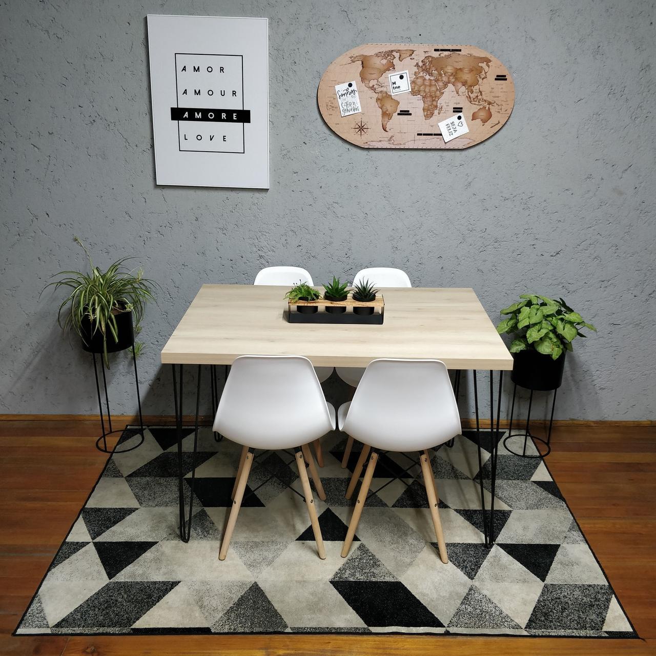 Mesa de Jantar Faia Hairpin Legs 4 lugares com 4 Cadeiras Brancas