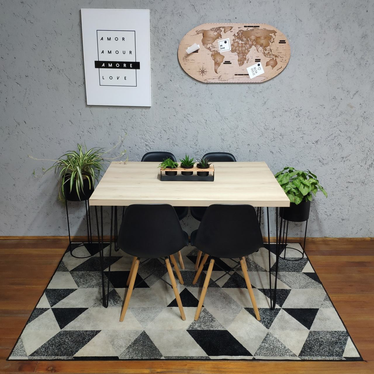 Mesa de Jantar Faia Hairpin Legs 4 lugares com 4 Cadeiras Pretas