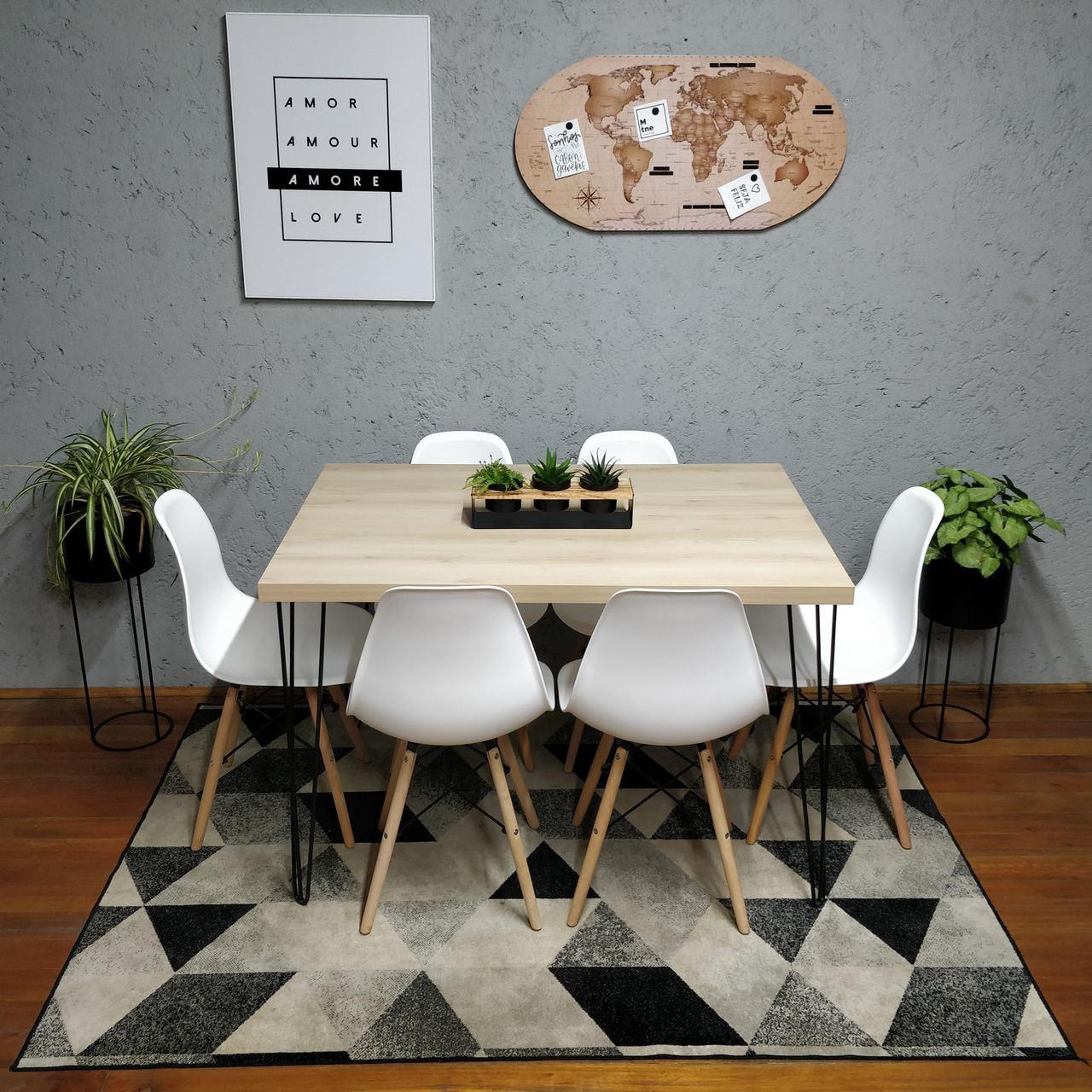 Mesa de Jantar Faia Hairpin Legs 90x140 com 6 Cadeiras Eames Brancas