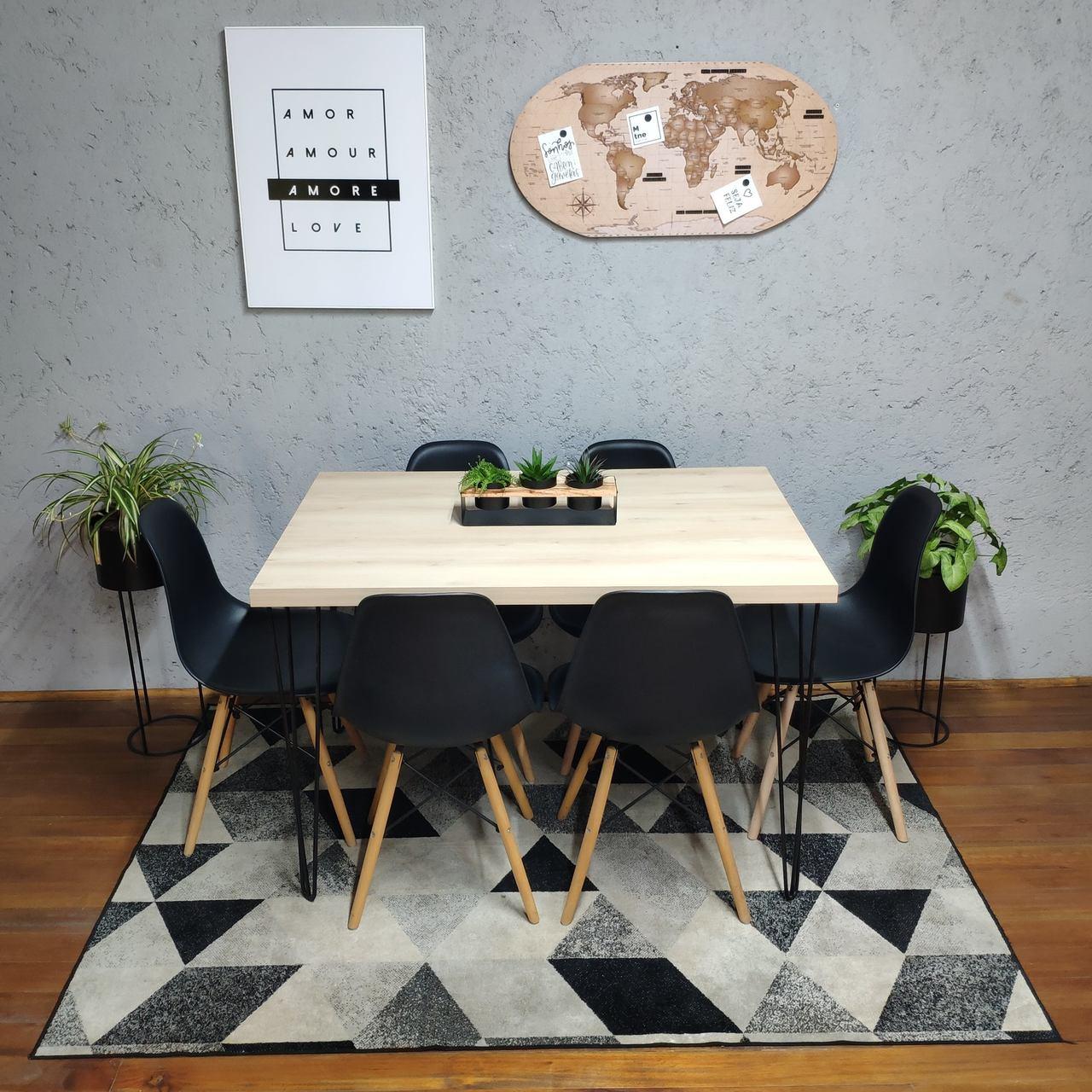 Mesa de Jantar Faia Hairpin Legs 90x150 com 6 Cadeiras Eames Pretas