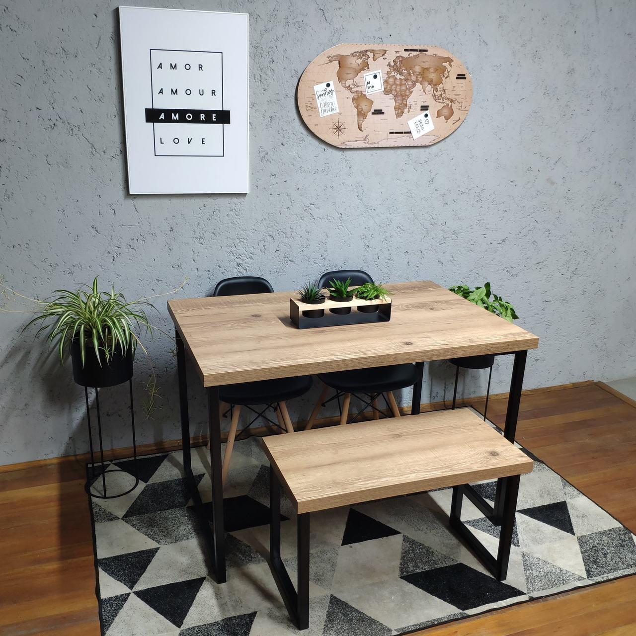 Mesa de Jantar Industrial Antiqua Squared Legs com Banco e Duas Cadeiras Pretas  - Mtne Store