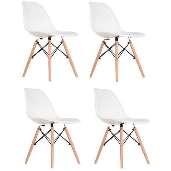Mesa de Jantar Industrial Western 90 x 140 Squared Legs com 2 Banquinhos e 4 Cadeiras Brancas  - Mtne Store