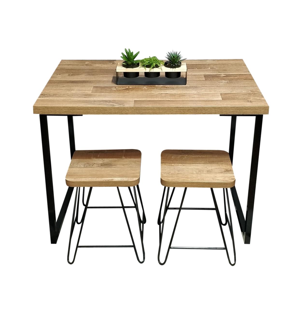 Mesa de Jantar Industrial Western 90 x 150 Squared Legs com 2 Banquinhos e 4 Cadeiras Brancas  - Mtne Store