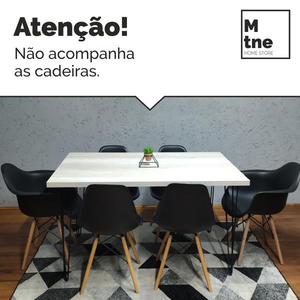 Mesa de Jantar Mezzo Bianco com Hairpin Legs e Tampo 100% MDF (Não acompanham cadeiras)  - Mtne Store