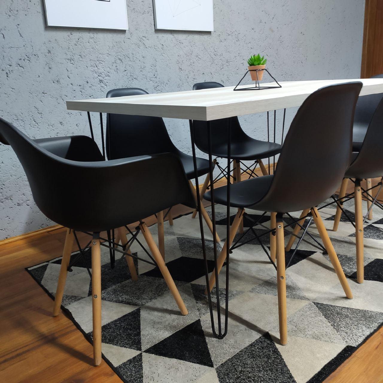 Mesa de Jantar Mezzo Bianco com Hairpin Legs e Tampo 100% MDF (PONTA DE ESTOQUE)  - Mtne Store