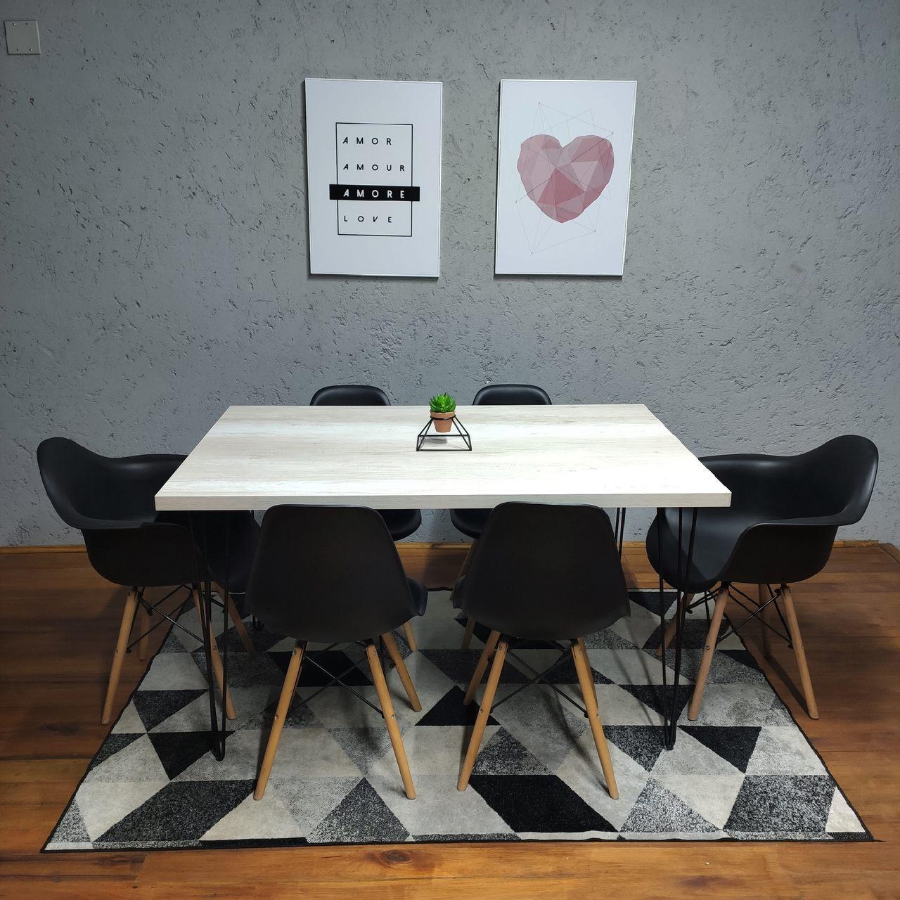 Mesa De Jantar PREMIUM 90 cm x 140 cm Industrial Hairpin Legs - Tampo 100 % Mdf (Não acompanha cadeiras)  - Mtne Store