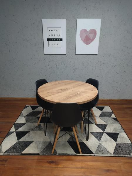 Mesa de Jantar Redonda Antiqua com Hairpin Legs e Tampo 100% MDF (PEÇA DE MOSTRUÁRIO)   - Mtne Store