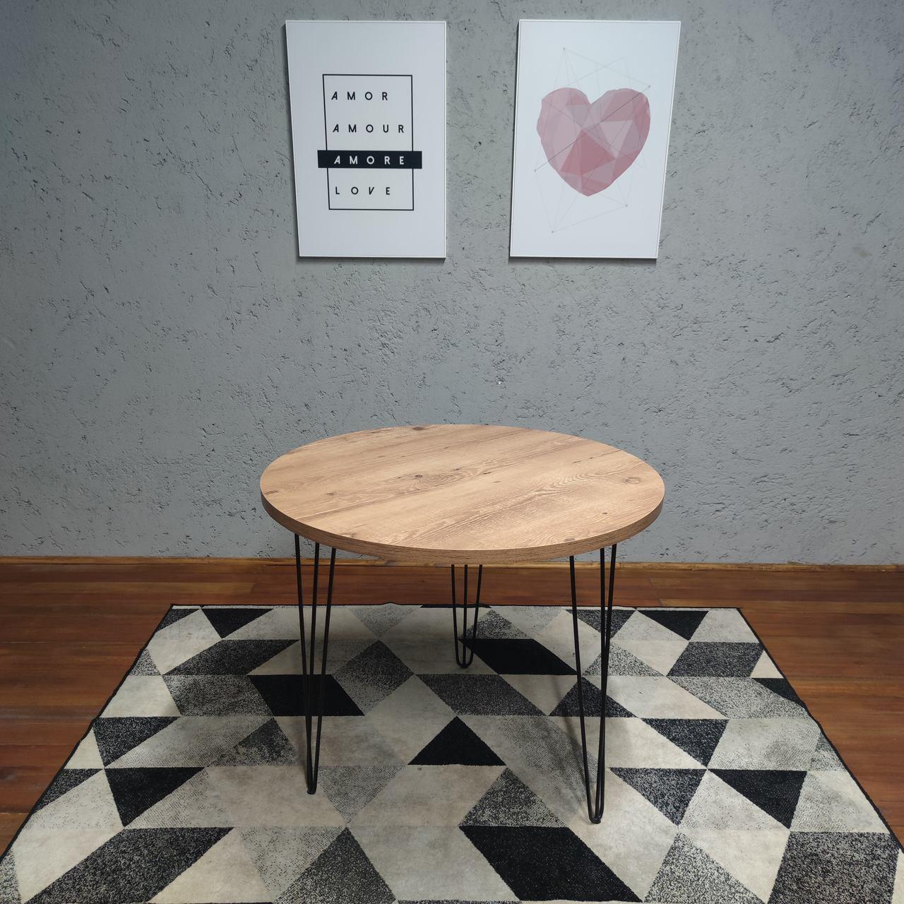 Mesa de Jantar Redonda para 3 Lugares 90cm Antiqua com Hairpin Legs e Tampo 100% MDF (Não acompanham cadeiras)  - Mtne Store