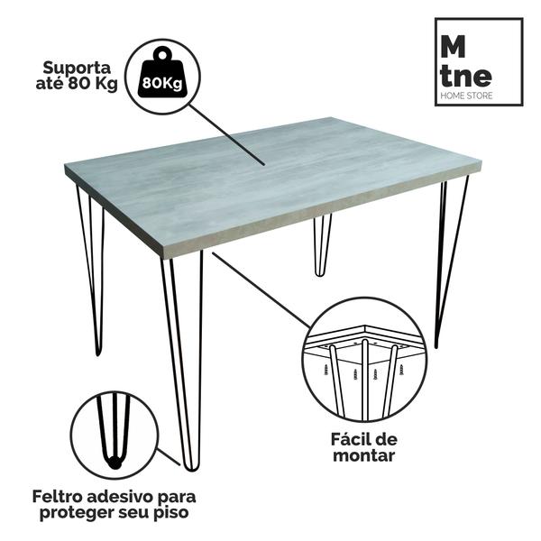 Mesa de Jantar Santorini com Hairpin Legs e Tampo 100% MDF (Não acompanham cadeiras)  - Mtne Store