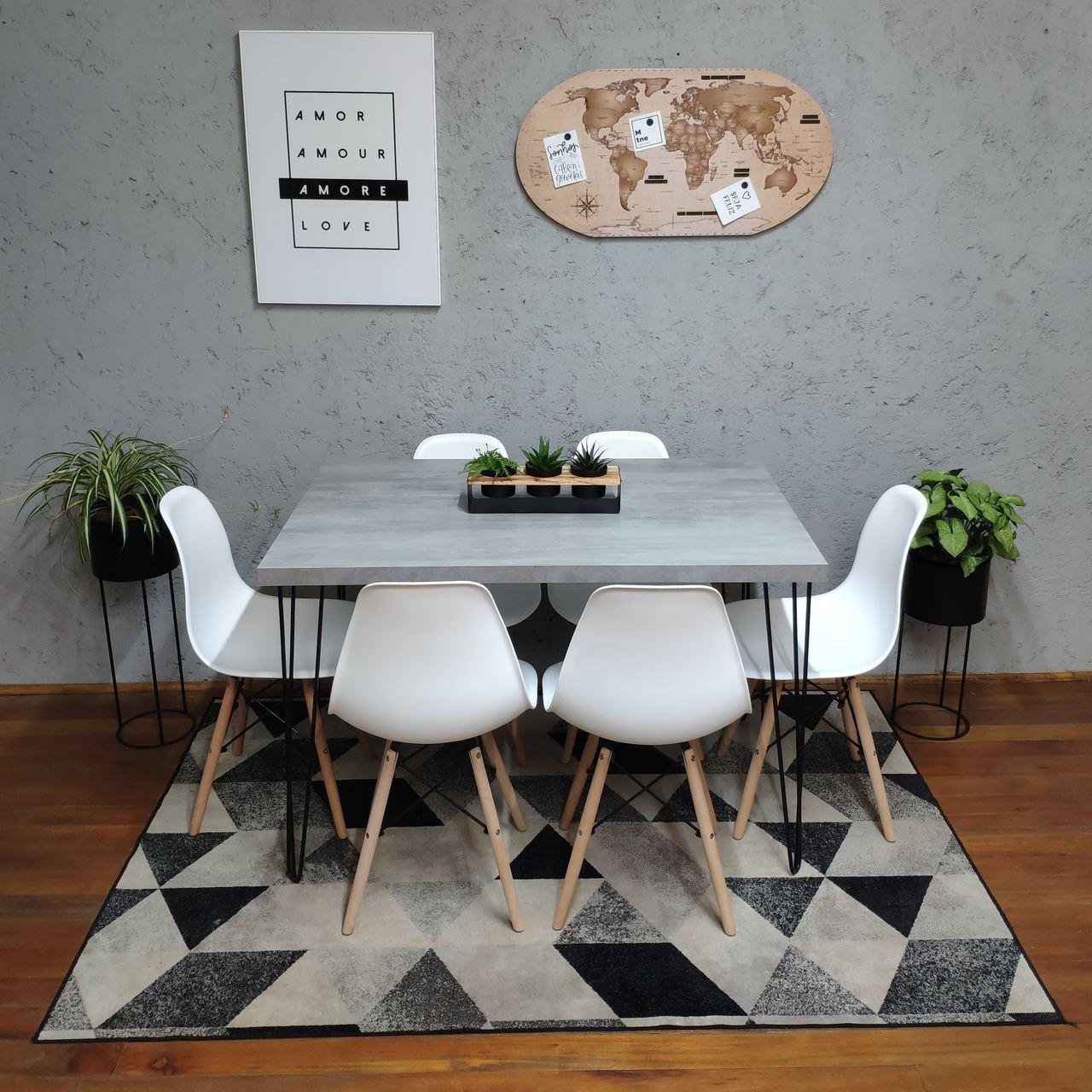 Mesa de Jantar Santorini Hairpin Legs 90x140 com 6 Cadeiras Eames Brancas