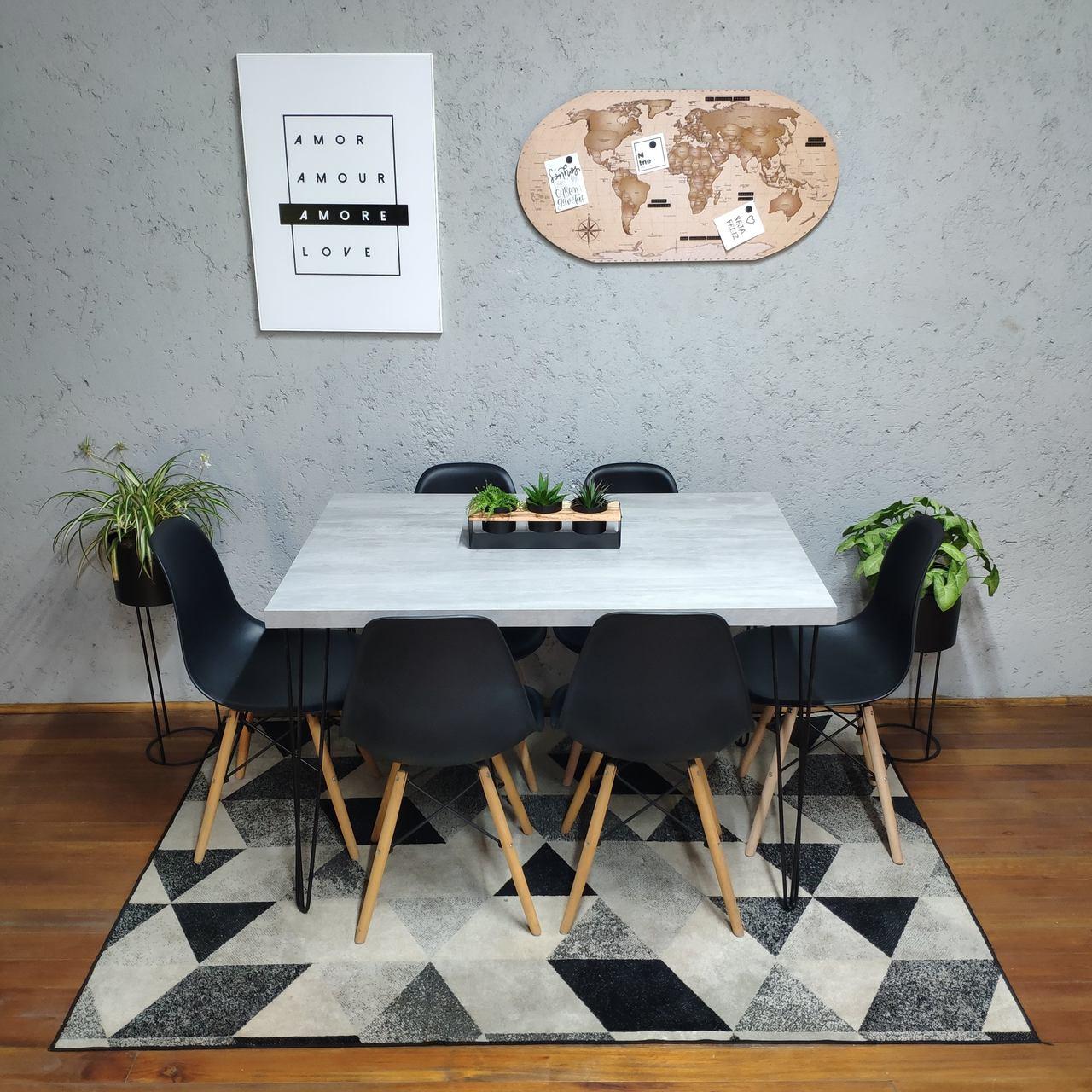 Mesa de Jantar Santorini Hairpin Legs 90x140 com 6 Cadeiras Eames Pretas