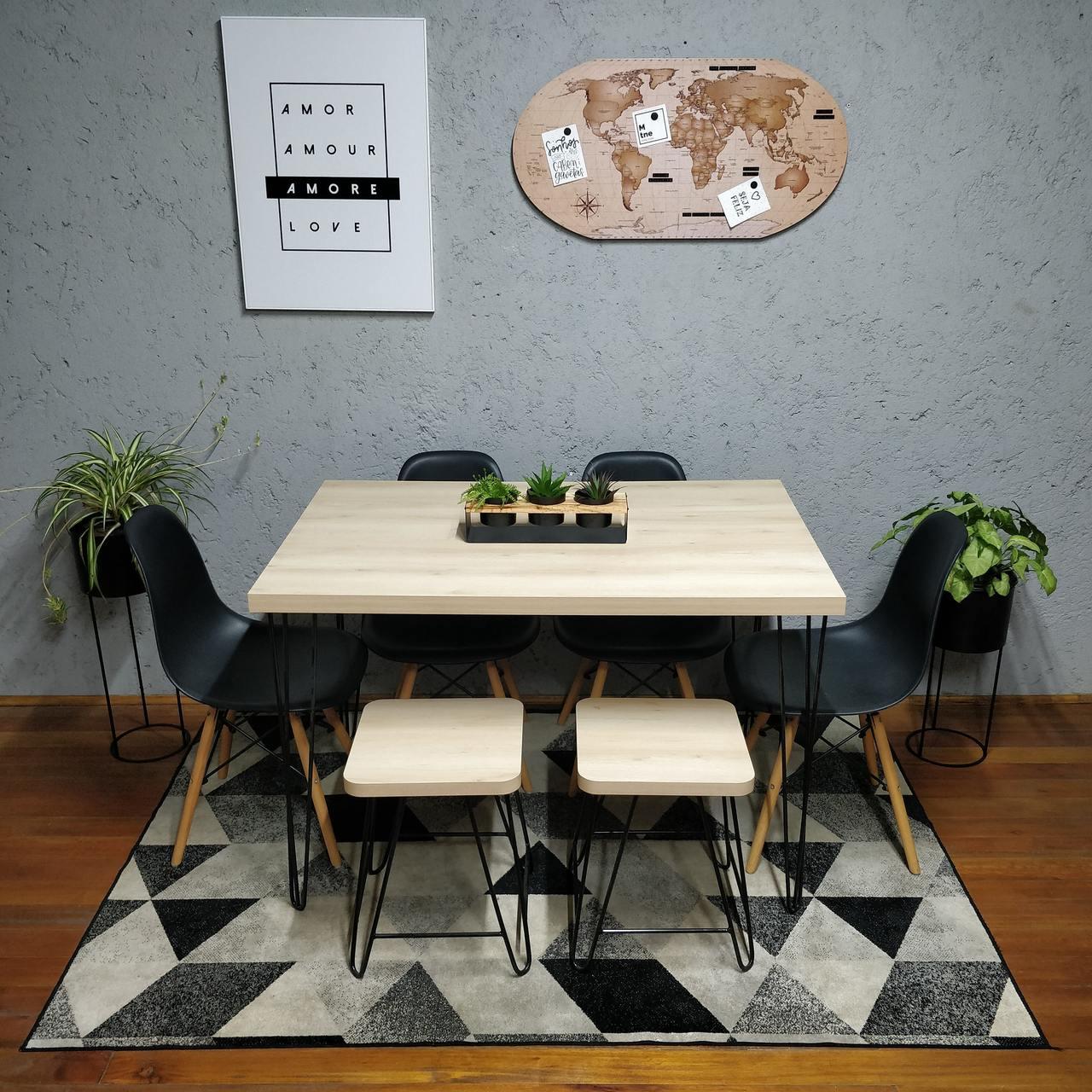 Mesa de Jantar Sob Medida 70 x 120 Faia com 2 Banquinhos e 4 Cadeiras Pretas